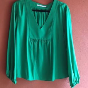 Beautiful TRINA Turk Green Silk Blouse